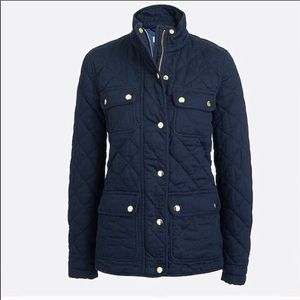 Like new J Crew blue quilted bomber jacket